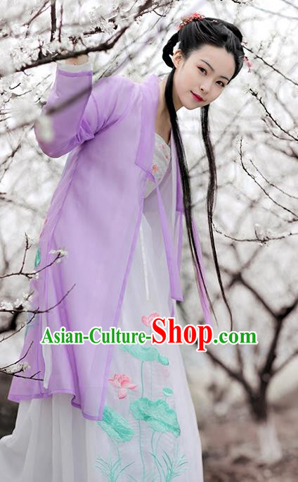 Ancient Chinese Song Dynasty Princess Costume Embroidered Lotus Purple Cloak and Inside Clothing Plus Accessories for Women