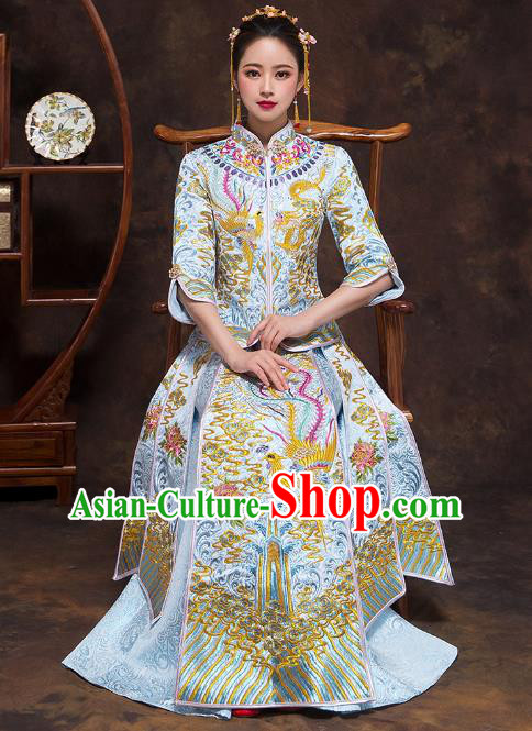 Chinese Ancient Wedding Costumes Bride Formal Dresses Embroidered Blue Bottom Drawer XiuHe Suit for Women