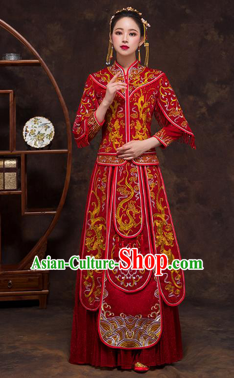 Chinese Ancient Wedding Costumes Bride Formal Dresses Embroidered Bottom Drawer Red XiuHe Suit for Women