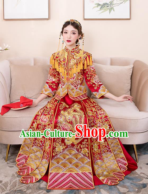 Chinese Ancient Bride Red Formal Dresses Wedding Costume Embroidered Cheongsam XiuHe Suit for Women