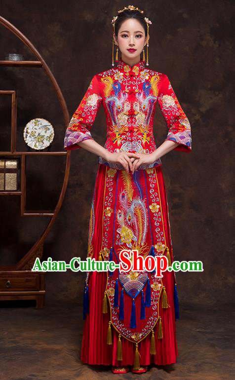Chinese Ancient Wedding Costumes Bride Formal Dresses Embroidered Phoenix Bottom Drawer Red XiuHe Suit for Women