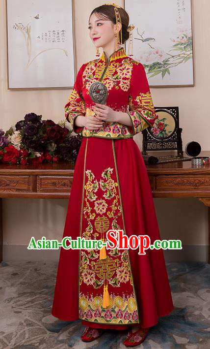 Chinese Ancient Bride Formal Dresses Wedding Costume Embroidered Longfenggua XiuHe Suit for Women