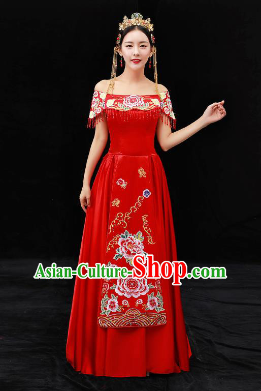Chinese Ancient Bride Formal Dresses Wedding Costume Embroidered Peony Red Cheongsam for Women