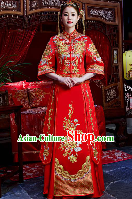 Top Grade Chinese Traditional Wedding Dress Ancient Bride Embroidered Flowers XiuHe Suit for Women