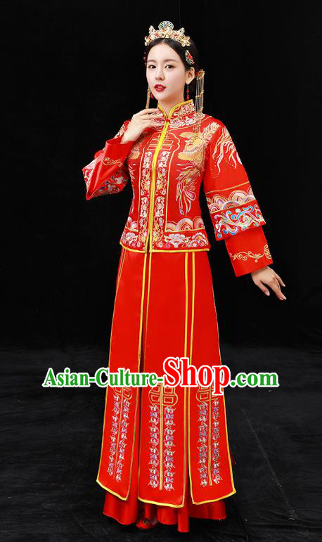 Chinese Ancient Bride Formal Dresses Xiuhe Suit Wedding Costume Embroidered Peony Red Cheongsam for Women