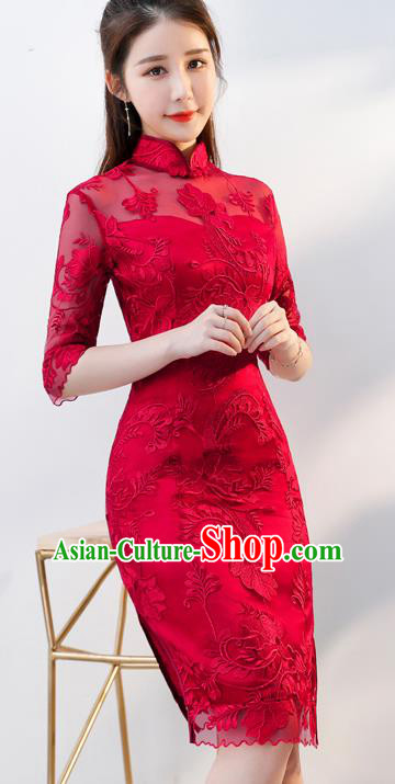 Top Grade Chinese Traditional Wedding Dress Ancient Bride Embroidered Red Lace Cheongsam for Women