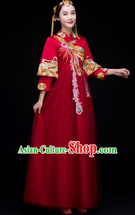 Top Grade Chinese Traditional Wedding Dress XiuHe Suit Ancient Bride Embroidered Phoenix Cheongsam for Women