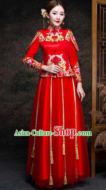 Top Grade Chinese Traditional Wedding Dress Red XiuHe Suit Ancient Bride Embroidered Cheongsam for Women