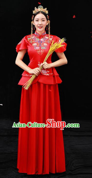 Chinese Ancient Bride Red Formal Dresses Xiuhe Suit Embroidered Wedding Costume for Women