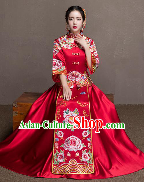 Chinese Ancient Bride Red Peony Formal Dresses Xiuhe Suit Embroidered Wedding Costume for Women