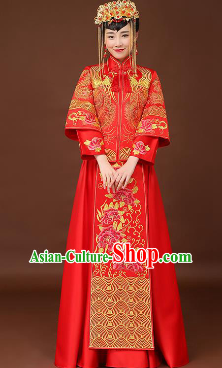 Chinese Traditional Wedding Dress Embroidered Phoenix Peony Red XiuHe Suit Ancient Bride Cheongsam for Women