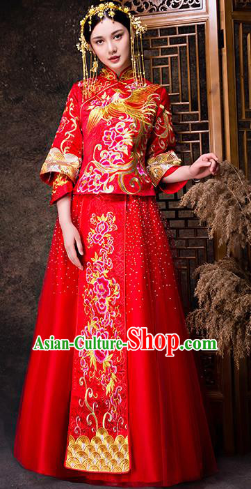 Chinese Traditional Wedding Dress XiuHe Suit Ancient Bride Embroidered Peony Toast Cheongsam for Women