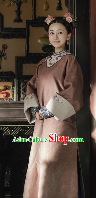 Drama Story of Yanxi Palace Chinese Ancient Qing Dynasty Court Maid Costumes and Headpiece Complete Set