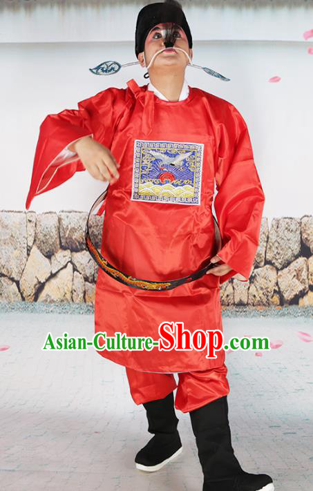 Professional Chinese Beijing Opera Costumes Peking Opera Sesame Official Red Robe and Boots for Adults