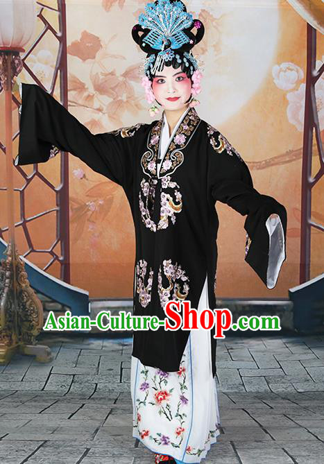 Professional Chinese Traditional Beijing Opera Diva Embroidered Plum Blossom Black Costumes for Adults