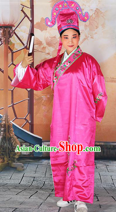 Professional Chinese Beijing Opera Costumes Peking Opera Gifted Scholar Rosy Robe and Hat for Adults
