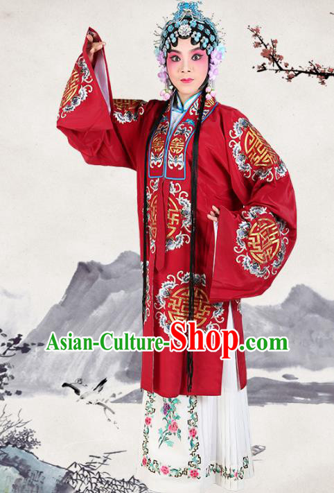 Professional Chinese Traditional Beijing Opera Pantaloon Embroidered Plum Blossom Red Costumes for Adults
