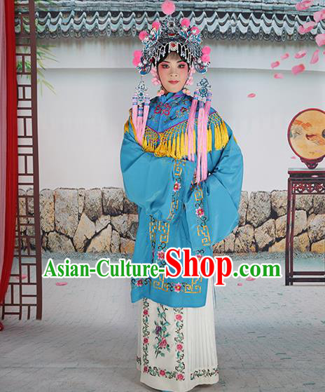 Professional Chinese Beijing Opera Diva Embroidered Costumes Blue Shawl Clothing and Headwear for Adults
