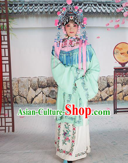 Professional Chinese Beijing Opera Diva Embroidered Green Costumes Pink Shawl Clothing and Headwear for Adults