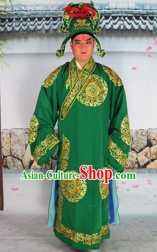 Professional Chinese Peking Opera Niche Costume Scholar Green Robe and Hat for Adults