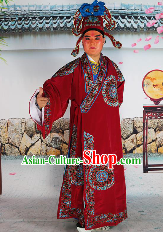 Professional Chinese Peking Opera Niche Costume Scholar Amaranth Robe and Hat for Adults