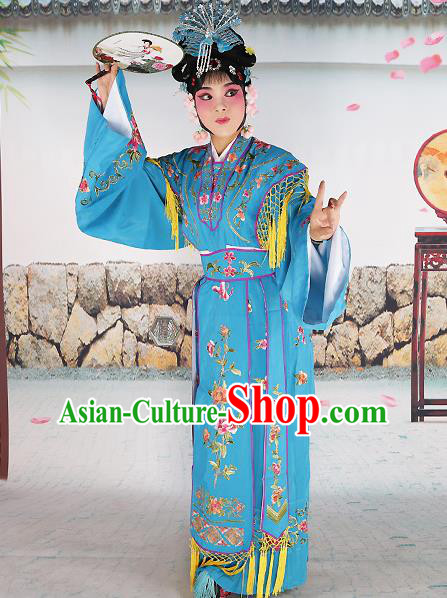 Professional Chinese Beijing Opera Diva Embroidered Costumes Palace Princess Blue Dress for Adults