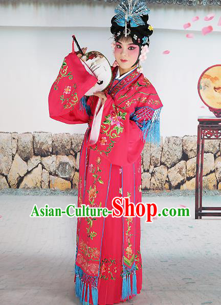 Professional Chinese Beijing Opera Diva Embroidered Costumes Palace Princess Rosy Dress for Adults