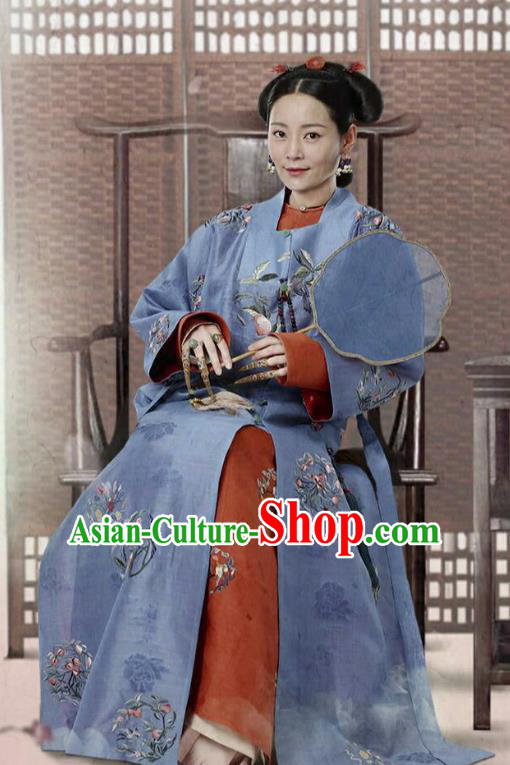 Ancient Arama Story of Yanxi Palace Chinese Qing Dynasty Manchu Imperial Consort Embroidered Costumes and Headpiece Complete Set