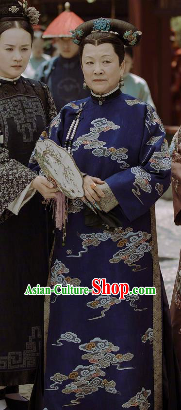 Chinese Qing Dynasty Drama Story of Yanxi Palace Manchu Empress Dowager Embroidered Costumes and Headpiece Complete Set