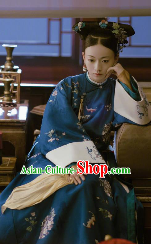 Story of Yanxi Palace Chinese Ancient Qing Dynasty Manchu Imperial Consort Embroidered Costumes and Headpiece Complete Set