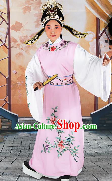 Professional Chinese Peking Opera Niche Costume Huangmei Opera Jia Baoyu Pink Robe and Hat for Adults
