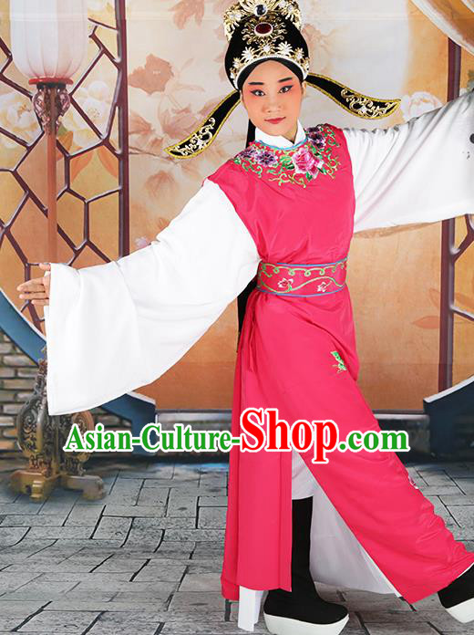 Professional Chinese Peking Opera Niche Costume Huangmei Opera Jia Baoyu Rosy Robe and Hat for Adults