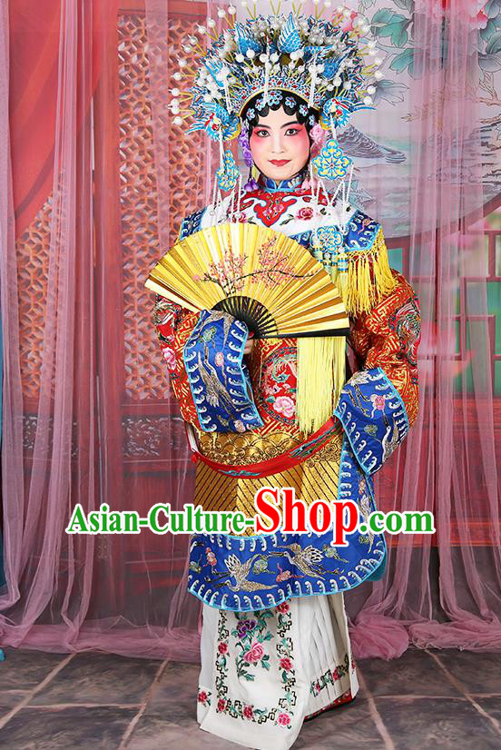 Professional Chinese Beijing Opera Diva Embroidered Costumes Imperial Consort Red Dress for Adults