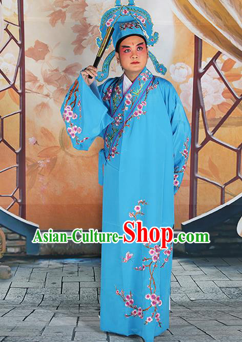 Professional Chinese Peking Opera Niche Costume Traditional Peking Opera Plum Blossom Blue Robe and Hat for Adults