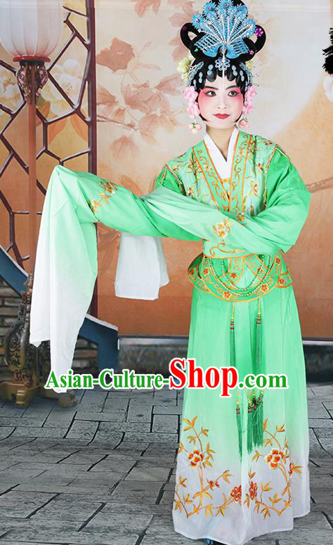 Professional Chinese Beijing Opera Diva Embroidered Costumes Peking Opera Fairy Green Dress for Adults