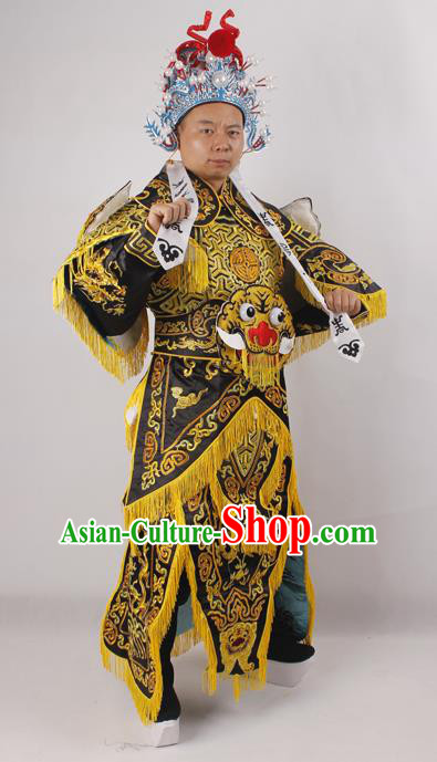 Professional Chinese Peking Opera General Black Embroidered Costume Beijing Opera Takefu Clothing and Hat for Adults