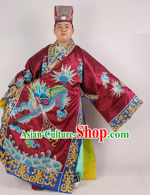 Professional Chinese Peking Opera Minister Costume Beijing Opera Embroidered Kylin Purplish Red Robe for Adults