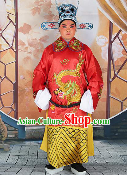 Professional Chinese Peking Opera Old Gentleman Costume Red Embroidered Robe and Hat for Adults