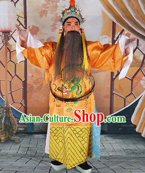 Professional Chinese Peking Opera Old Gentleman Costume Yellow Embroidered Robe and Hat for Adults