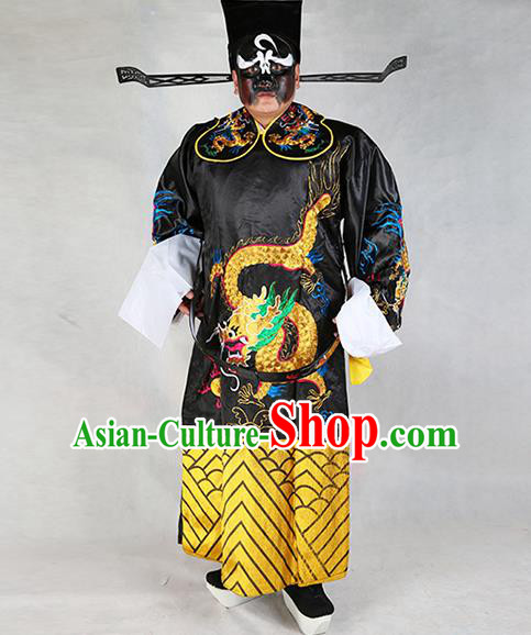 Professional Chinese Peking Opera Old Gentleman Costume Black Embroidered Robe and Hat for Adults