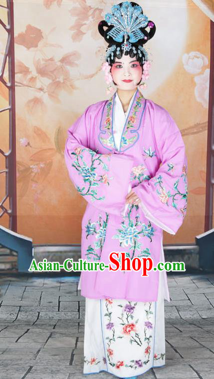 Professional Chinese Beijing Opera Actress Embroidered Peony Lilac Costumes for Adults
