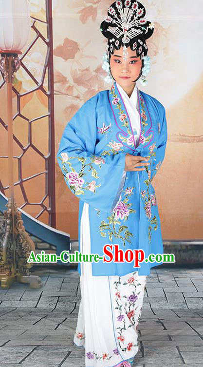 Professional Chinese Beijing Opera Actress Embroidered Peony Blue Costumes for Adults