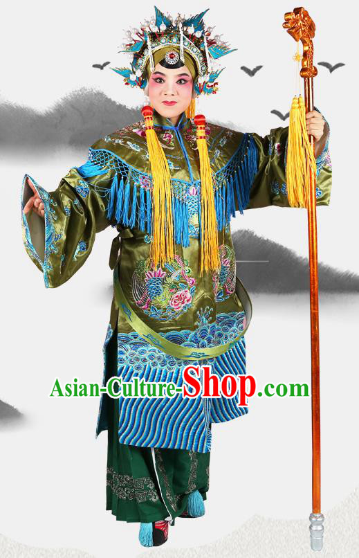 Professional Chinese Beijing Opera Pantaloon She Saihua Embroidered Green Costumes and Headwear for Adults