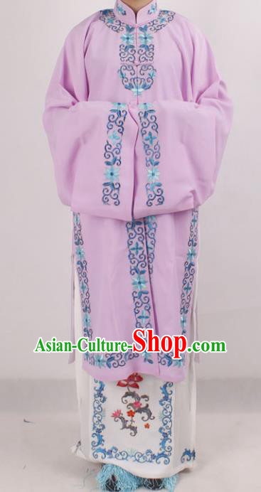 Professional Chinese Peking Opera Diva Embroidered Purple Costumes for Adults