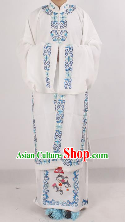Professional Chinese Peking Opera Diva Embroidered White Costumes for Adults