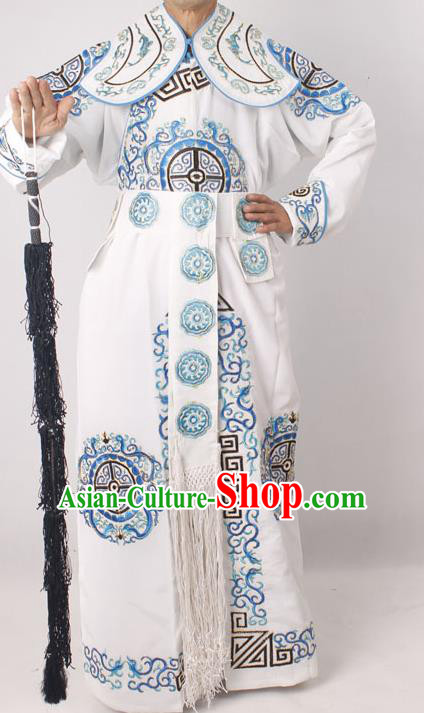 Professional Chinese Peking Opera Takefu Embroidered White Costume for Adults