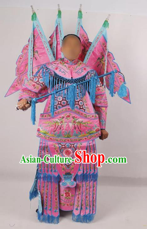 Professional Chinese Peking Opera Female General Mu Guiying Embroidered Pink Costumes for Adults