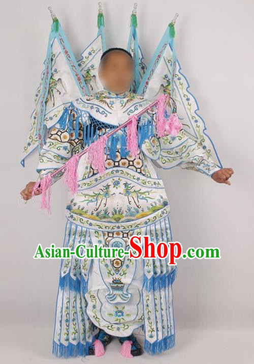 Professional Chinese Peking Opera Female General Mu Guiying Embroidered White Costumes for Adults