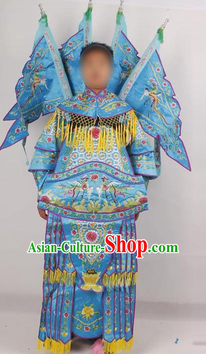 Professional Chinese Peking Opera Female General Mu Guiying Embroidered Blue Costumes for Adults