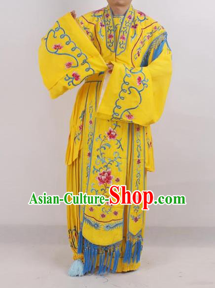 Professional Chinese Peking Opera Diva Costumes Ancient Fairy Embroidered Yellow Dress for Adults